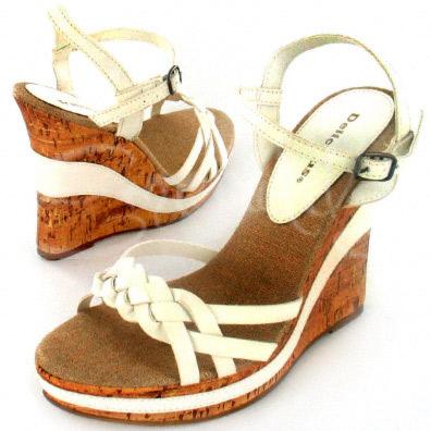 White Charleen Leather Sandal with Cork Wedge Heel