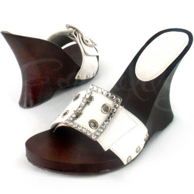 White Leather Maitai Wedge Heel with Grommet Accents and Rhinestone Double-Buckle