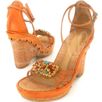 Camel Santa Fe Leather Wedge Heel with Beaded Accents