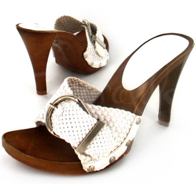 Love White Woven Pump with Metal Buckle Accent