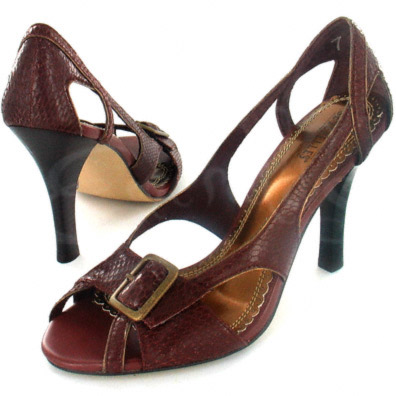 Chocolate Snakeskin Leather Pump with Buckle Accent