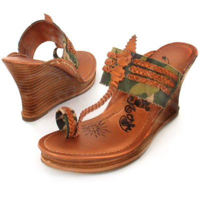 Camo and Braided Bronze Leather Wooden Wedge Heel